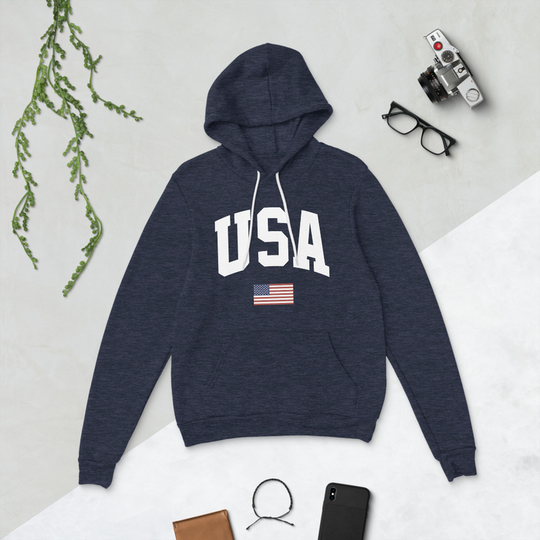 USA Heather Navy Bella + Canvas Hoodie