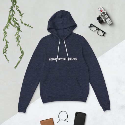 Money Not Friends Heather Navy Bella + Canvas Hoodie