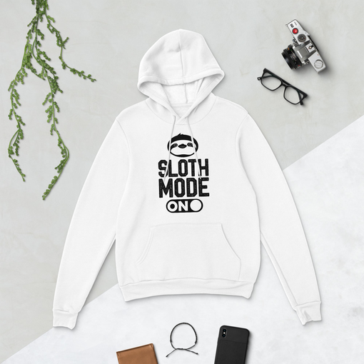 Sloth Mode White Bella + Canvas Hoodie
