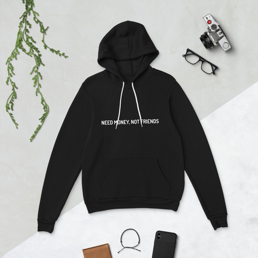 Money Not Friends Black Bella + Canvas Hoodie