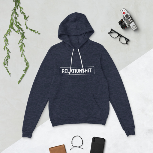 Relationshit Heather Navy Bella + Canvas Hoodie