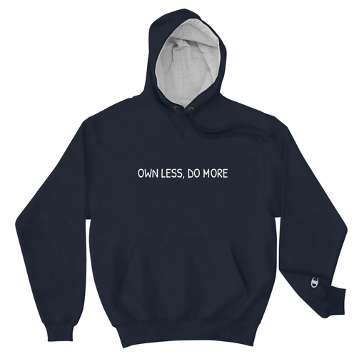 Own Less Navy Champion Hoodie