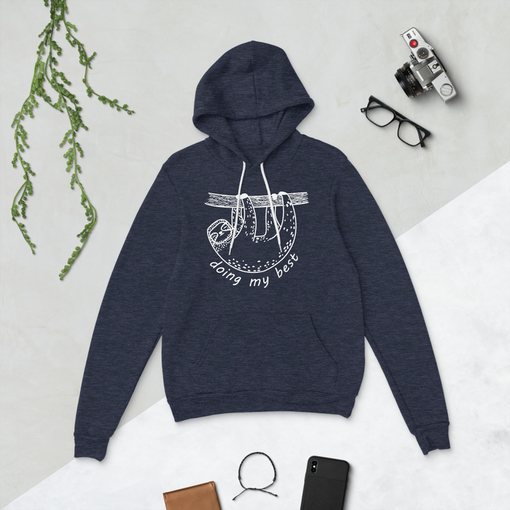 Sloth Heather Navy Bella + Canvas Hoodie