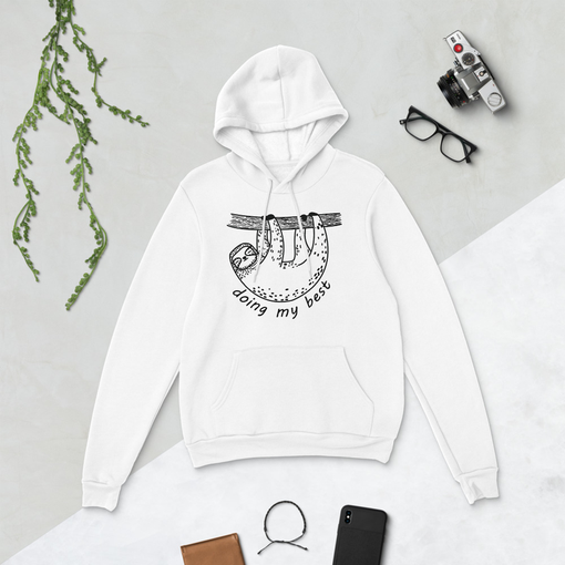 Sloth White Bella + Canvas Hoodie