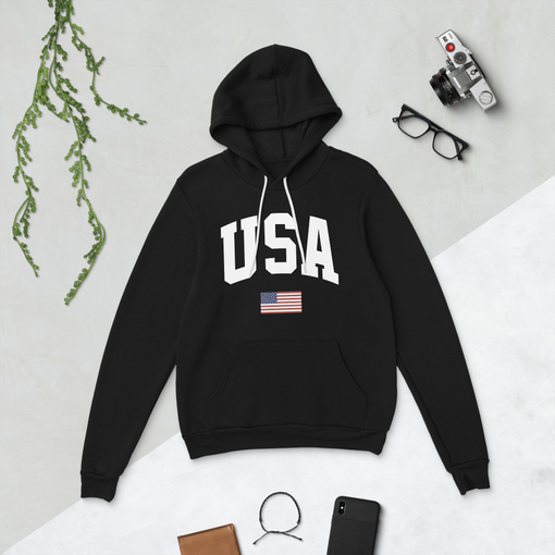 USA Black Bella + Canvas Hoodie
