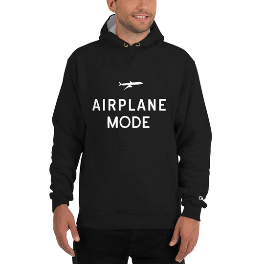 Airplane Mode Black Champion Hoodie