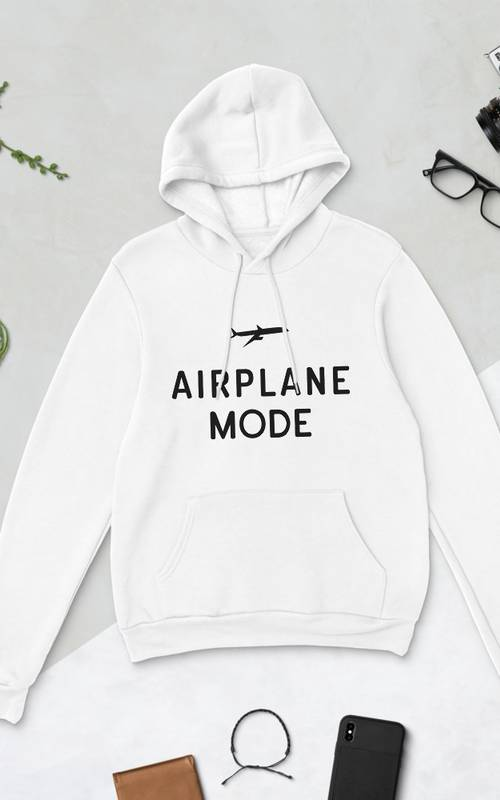 Airplane Mode White Bella + Canvas Hoodie