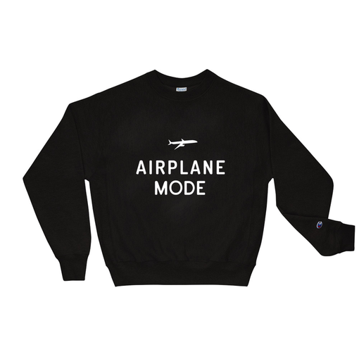 Airplane Mode Black Champion Sweatshirt