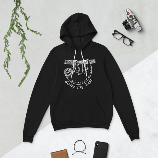 Sloth Black Bella + Canvas Hoodie