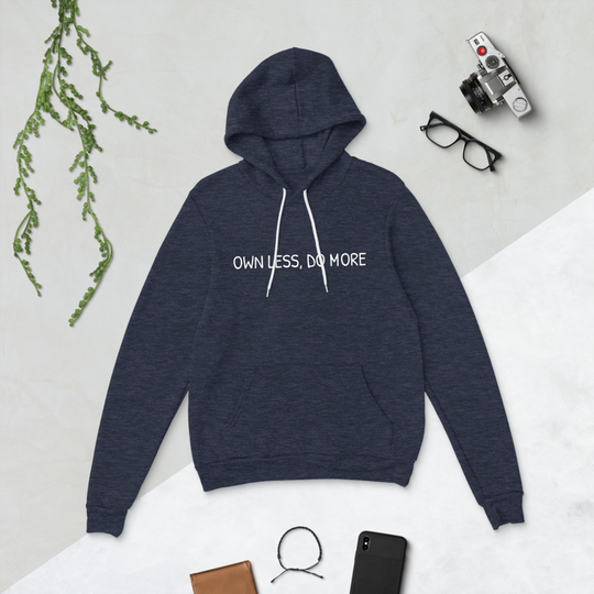 Own Less Heather Navy Bella + Canvas Hoodie