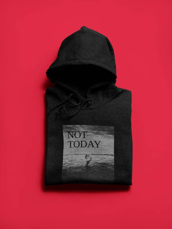 Not Today Graphic Black Hoodie